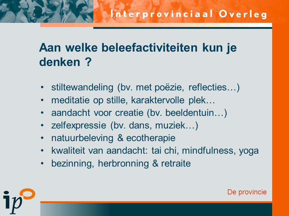 De provincie Aan welke beleefactiviteiten kun je denken ? stiltewandeling (bv. met poëzie, reflecties…) meditatie op stille, karaktervolle plek… aanda