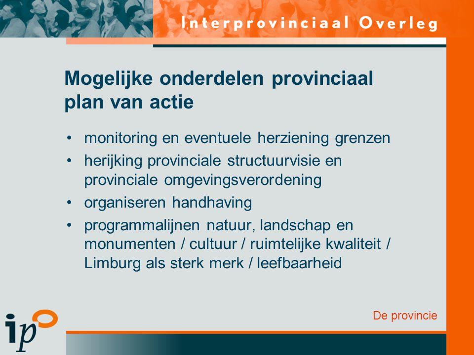De provincie Mogelijke onderdelen provinciaal plan van actie monitoring en eventuele herziening grenzen herijking provinciale structuurvisie en provin