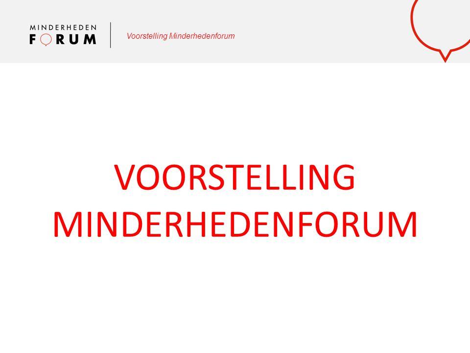 Voorstelling Minderhedenforum Een aantal van onze thema's: Tewerkstelling Onderwijs Armoede Cultuur Media en beeldvorming Roma en woonwagenbewoners Brussel Antidiscriminatie