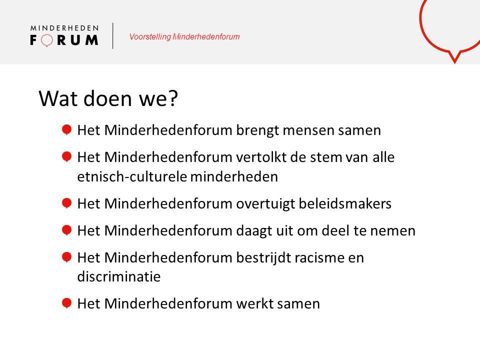 Voorstelling Minderhedenforum Wat doen we? Het Minderhedenforum brengt mensen samen Het Minderhedenforum vertolkt de stem van alle etnisch-culturele m