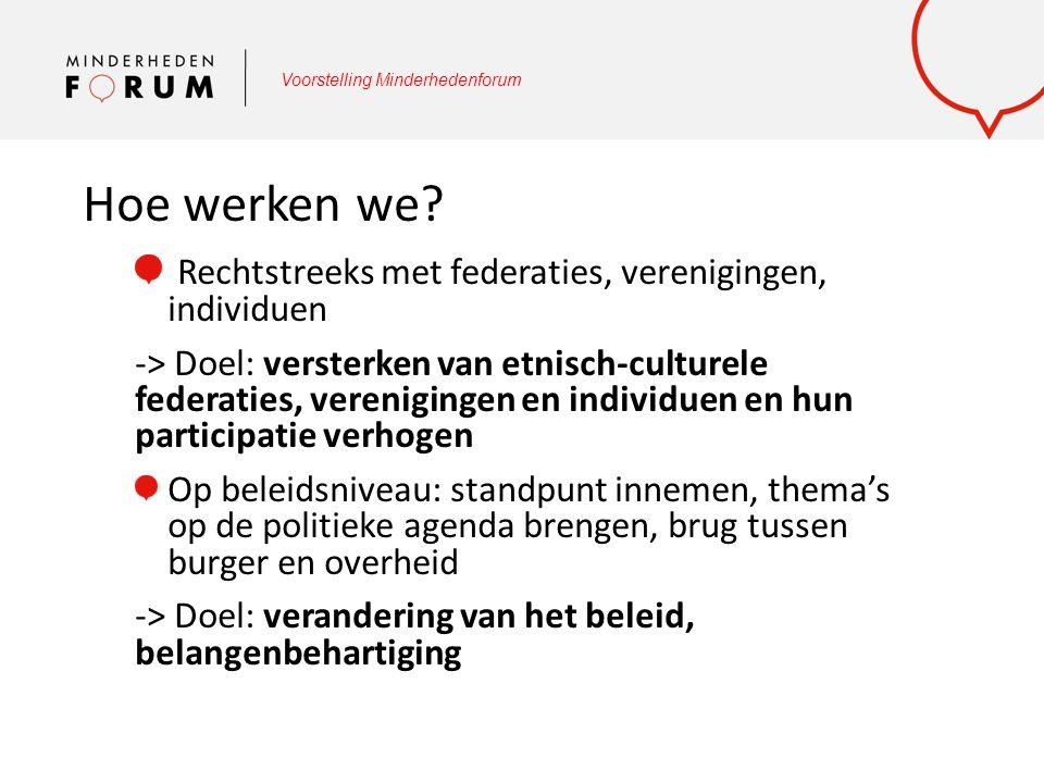Voorstelling Minderhedenforum Hoe werken we? Rechtstreeks met federaties, verenigingen, individuen -> Doel: versterken van etnisch-culturele federatie