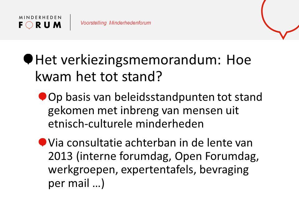 Voorstelling Minderhedenforum Het verkiezingsmemorandum: Hoe kwam het tot stand? Op basis van beleidsstandpunten tot stand gekomen met inbreng van men