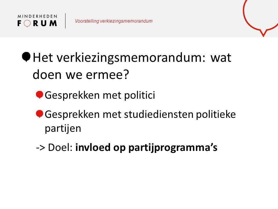 Voorstelling verkiezingsmemorandum Het verkiezingsmemorandum: wat doen we ermee? Gesprekken met politici Gesprekken met studiediensten politieke parti