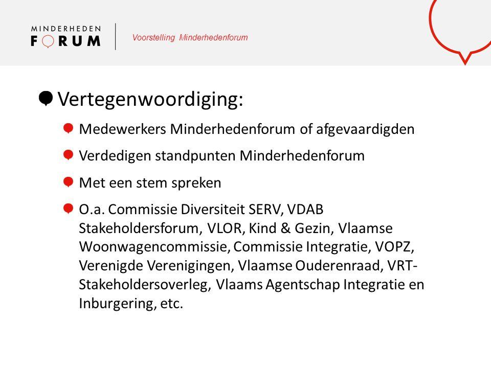 Voorstelling Minderhedenforum Vertegenwoordiging: Medewerkers Minderhedenforum of afgevaardigden Verdedigen standpunten Minderhedenforum Met een stem
