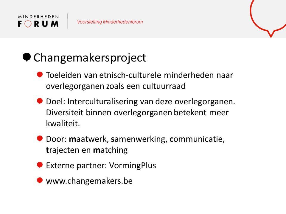 Voorstelling Minderhedenforum Changemakersproject Toeleiden van etnisch-culturele minderheden naar overlegorganen zoals een cultuurraad Doel: Intercul