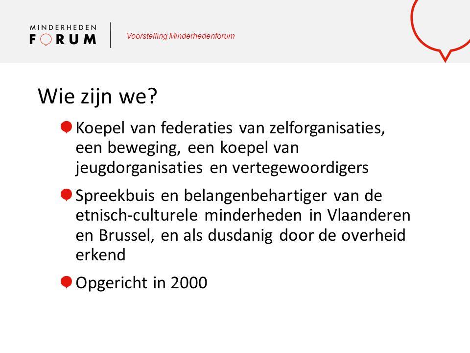 Voorstelling Minderhedenforum Wie zijn onze leden en hun leden.