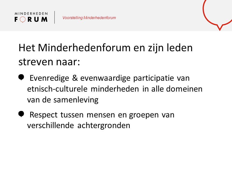 Voorstelling Minderhedenforum Vertegenwoordiging: Medewerkers Minderhedenforum of afgevaardigden Verdedigen standpunten Minderhedenforum Met een stem spreken O.a.
