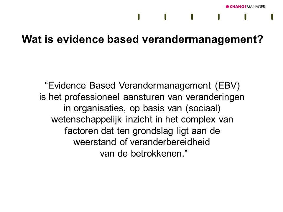 Uitgangspunten EBV Meten = weten Plan van aanpak op maat Doelstellingen EBV 1.Weerstand demystificeren 2.Weerstand en veranderbereidheid binnen de invloedssfeer van de verandermanager halen 3.Succeskans van veranderprocessen vergroten