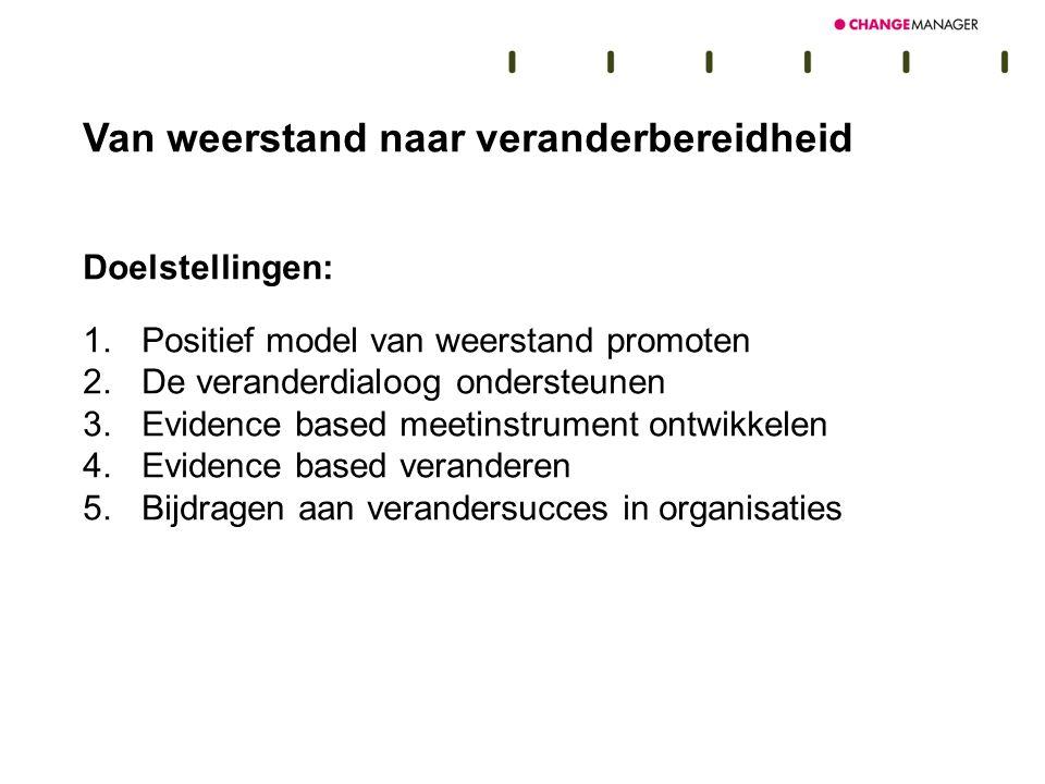 Van weerstand naar veranderbereidheid Doelstellingen: 1.Positief model van weerstand promoten 2.De veranderdialoog ondersteunen 3.Evidence based meeti
