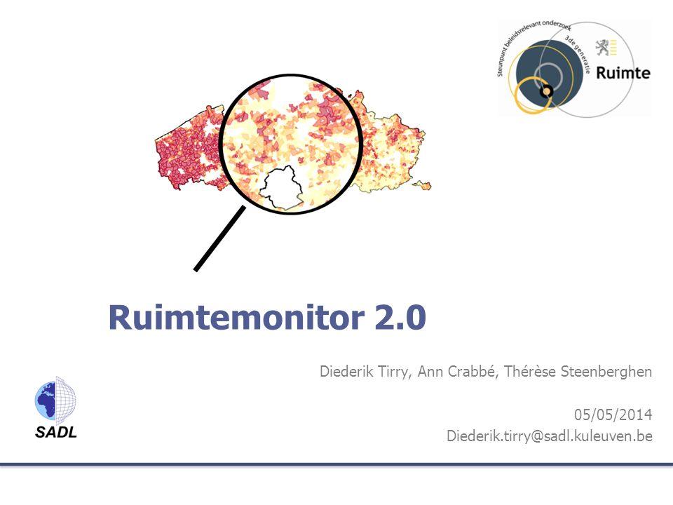 Toelichting bij de ruimtemonitor 1.Doelstellingen Ruimtemonitor 2.Historiek en huidige stand van zaken 3.Uitwisselmodel voor ruimtelijke indicatoren 4.Functionaliteiten en Demo 5.Uitdagingen