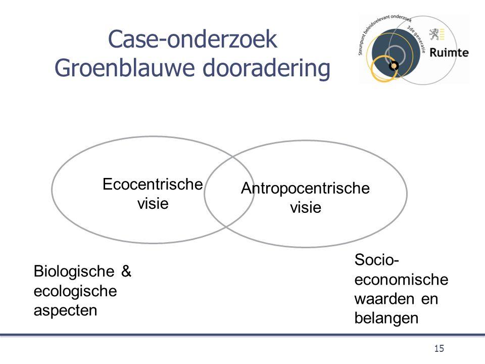Case-onderzoek Groenblauwe dooradering 15 Ecocentrische visie Antropocentrische visie Biologische & ecologische aspecten Socio- economische waarden en belangen