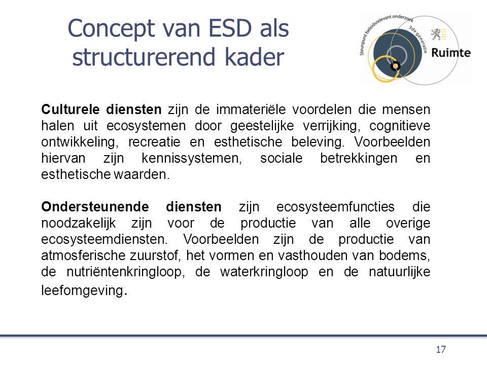 Concept van ESD als structurerend kader 17 Culturele diensten zijn de immateriële voordelen die mensen halen uit ecosystemen door geestelijke verrijking, cognitieve ontwikkeling, recreatie en esthetische beleving.