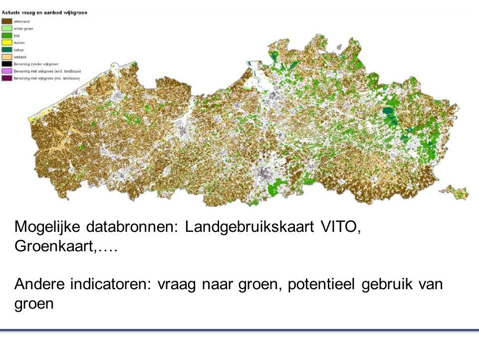 Mogelijke databronnen: Landgebruikskaart VITO, Groenkaart,….