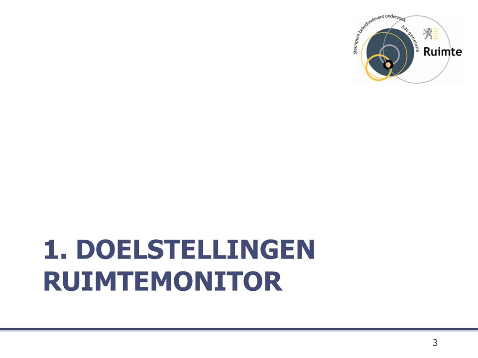 De doelstelling van de Ruimtemonitor is het beschikbaar maken van wetenschappelijke en beleidsrelevante indicatoren, 4 Doelstelling enerzijds ter ondersteuning van de beleidsvoorbereiding en –opvolging van het ruimtelijk beleid in Vlaanderen, anderzijds in functie van de maatschappelijke en wetenschappelijke discussie en keuzes met betrekking tot maatschappelijke uitdagingen die op ons afkomen.