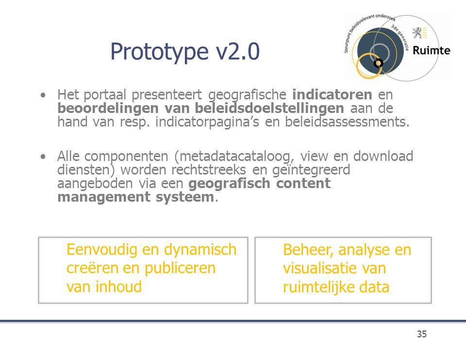 Prototype v2.0 Het portaal presenteert geografische indicatoren en beoordelingen van beleidsdoelstellingen aan de hand van resp.