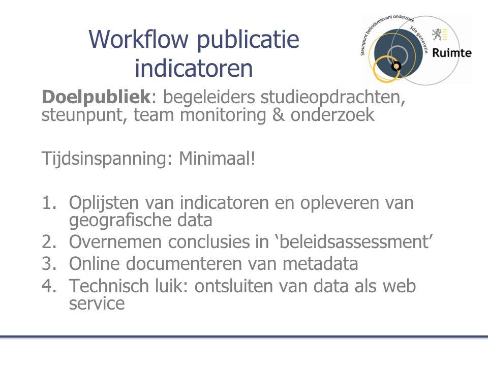 Workflow publicatie indicatoren Doelpubliek: begeleiders studieopdrachten, steunpunt, team monitoring & onderzoek Tijdsinspanning: Minimaal.