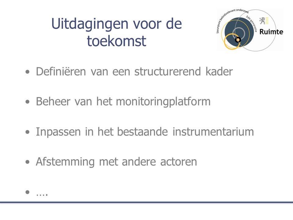 Uitdagingen voor de toekomst Definiëren van een structurerend kader Beheer van het monitoringplatform Inpassen in het bestaande instrumentarium Afstemming met andere actoren ….