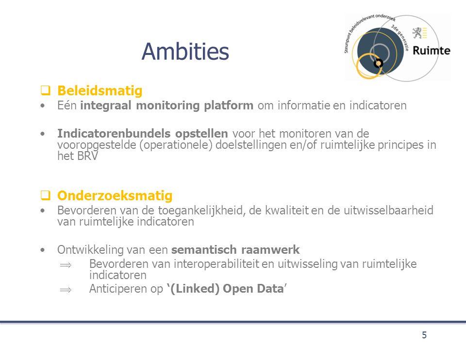 Ambities  Beleidsmatig Eén integraal monitoring platform om informatie en indicatoren Indicatorenbundels opstellen voor het monitoren van de vooropgestelde (operationele) doelstellingen en/of ruimtelijke principes in het BRV  Onderzoeksmatig Bevorderen van de toegankelijkheid, de kwaliteit en de uitwisselbaarheid van ruimtelijke indicatoren Ontwikkeling van een semantisch raamwerk  Bevorderen van interoperabiliteit en uitwisseling van ruimtelijke indicatoren  Anticiperen op '(Linked) Open Data' 5