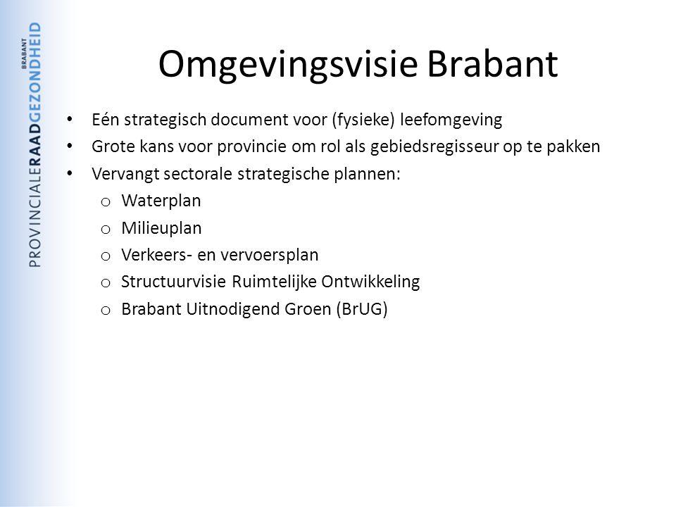 Omgevingsvisie Brabant Eén strategisch document voor (fysieke) leefomgeving Grote kans voor provincie om rol als gebiedsregisseur op te pakken Vervangt sectorale strategische plannen: o Waterplan o Milieuplan o Verkeers- en vervoersplan o Structuurvisie Ruimtelijke Ontwikkeling o Brabant Uitnodigend Groen (BrUG)