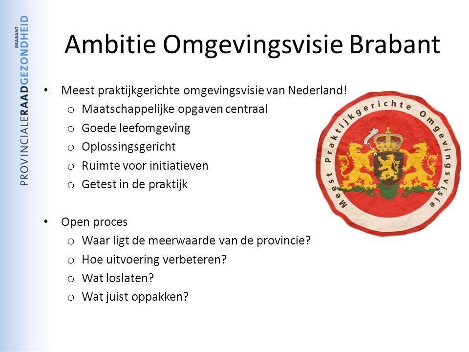 Ambitie Omgevingsvisie Brabant Meest praktijkgerichte omgevingsvisie van Nederland.