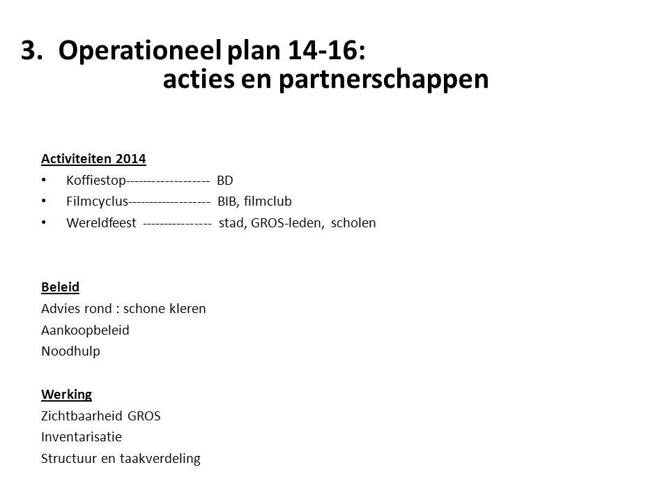 3.Operationeel plan 14-16: acties en partnerschappen Activiteiten 2014 Koffiestop------------------- BD Filmcyclus------------------- BIB, filmclub Wereldfeest ---------------- stad, GROS-leden, scholen Beleid Advies rond : schone kleren Aankoopbeleid Noodhulp Werking Zichtbaarheid GROS Inventarisatie Structuur en taakverdeling