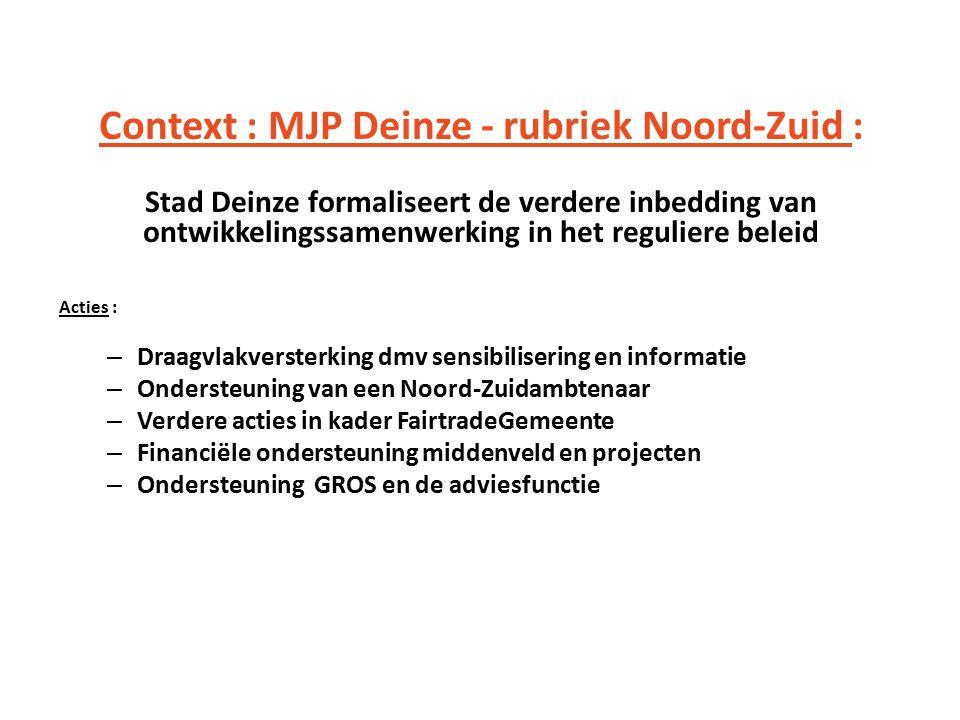 Context : MJP Deinze - rubriek Noord-Zuid : Stad Deinze formaliseert de verdere inbedding van ontwikkelingssamenwerking in het reguliere beleid Acties