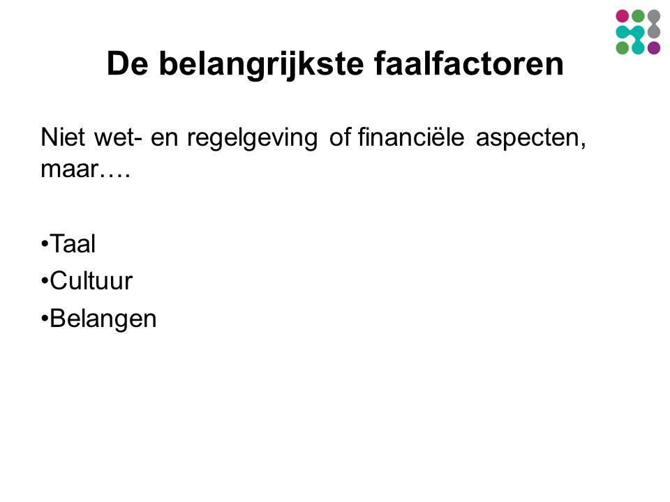 De belangrijkste faalfactoren Niet wet- en regelgeving of financiële aspecten, maar….