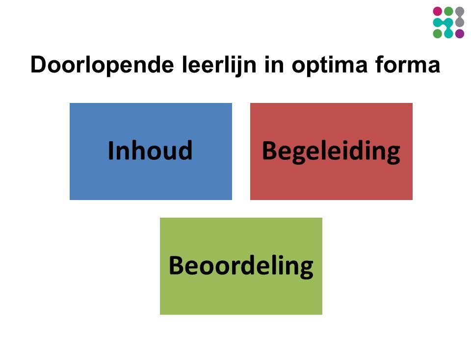 Doorlopende leerlijn in optima forma InhoudBegeleiding Beoordeling