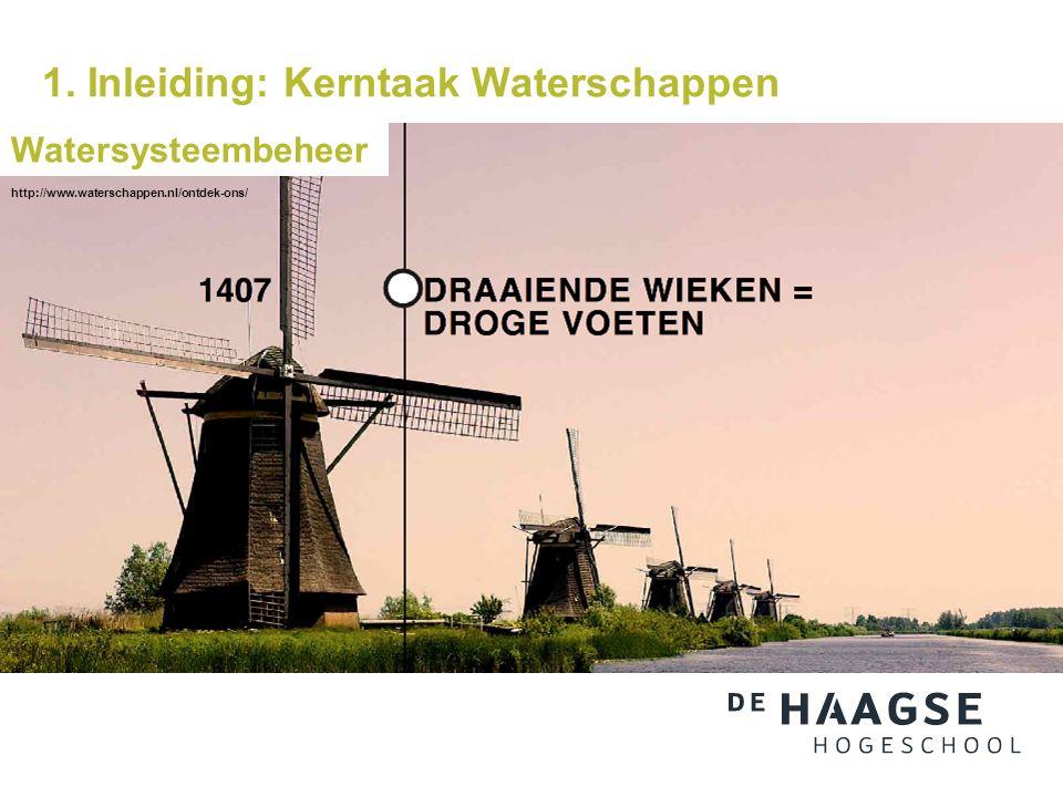 1. Inleiding: Kerntaak Waterschappen Watersysteembeheer http://www.waterschappen.nl/ontdek-ons/