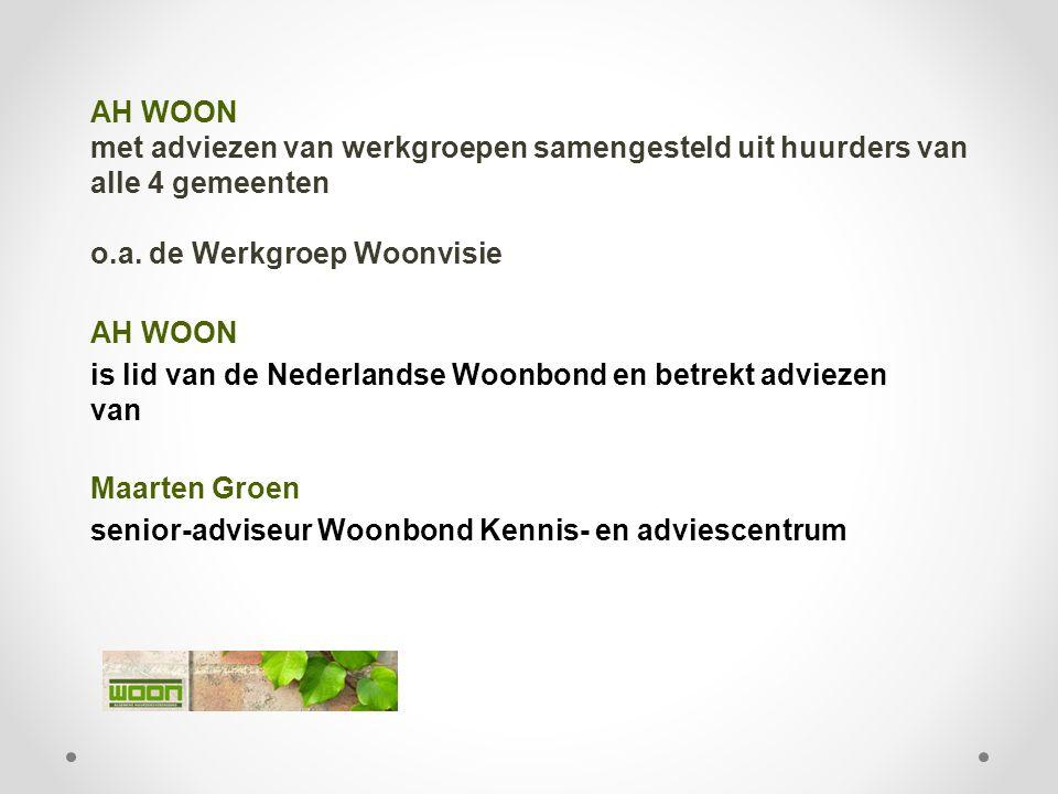 AH WOON met adviezen van werkgroepen samengesteld uit huurders van alle 4 gemeenten o.a. de Werkgroep Woonvisie AH WOON is lid van de Nederlandse Woon