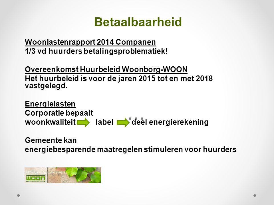 Betaalbaarheid Woonlastenrapport 2014 Companen 1/3 vd huurders betalingsproblematiek! Overeenkomst Huurbeleid Woonborg-WOON Het huurbeleid is voor de
