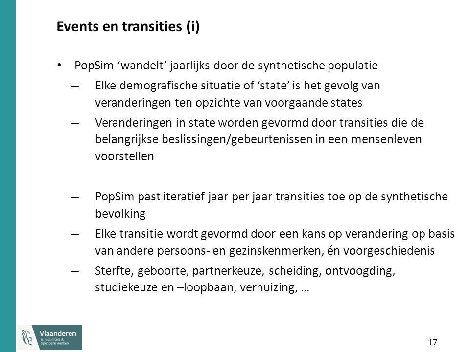 17 Events en transities (i) PopSim 'wandelt' jaarlijks door de synthetische populatie – Elke demografische situatie of 'state' is het gevolg van veran