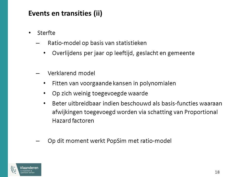 18 Events en transities (ii) Sterfte – Ratio-model op basis van statistieken Overlijdens per jaar op leeftijd, geslacht en gemeente – Verklarend model