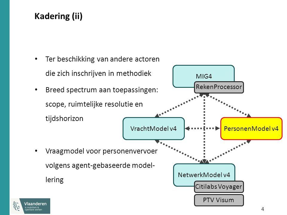 4 Kadering (ii) Ter beschikking van andere actoren die zich inschrijven in methodiek Breed spectrum aan toepassingen: scope, ruimtelijke resolutie en