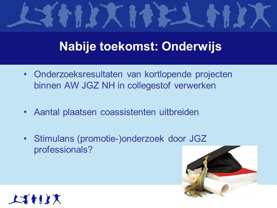 Nabije toekomst: Onderwijs Onderzoeksresultaten van kortlopende projecten binnen AW JGZ NH in collegestof verwerken Aantal plaatsen coassistenten uitbreiden Stimulans (promotie-)onderzoek door JGZ professionals