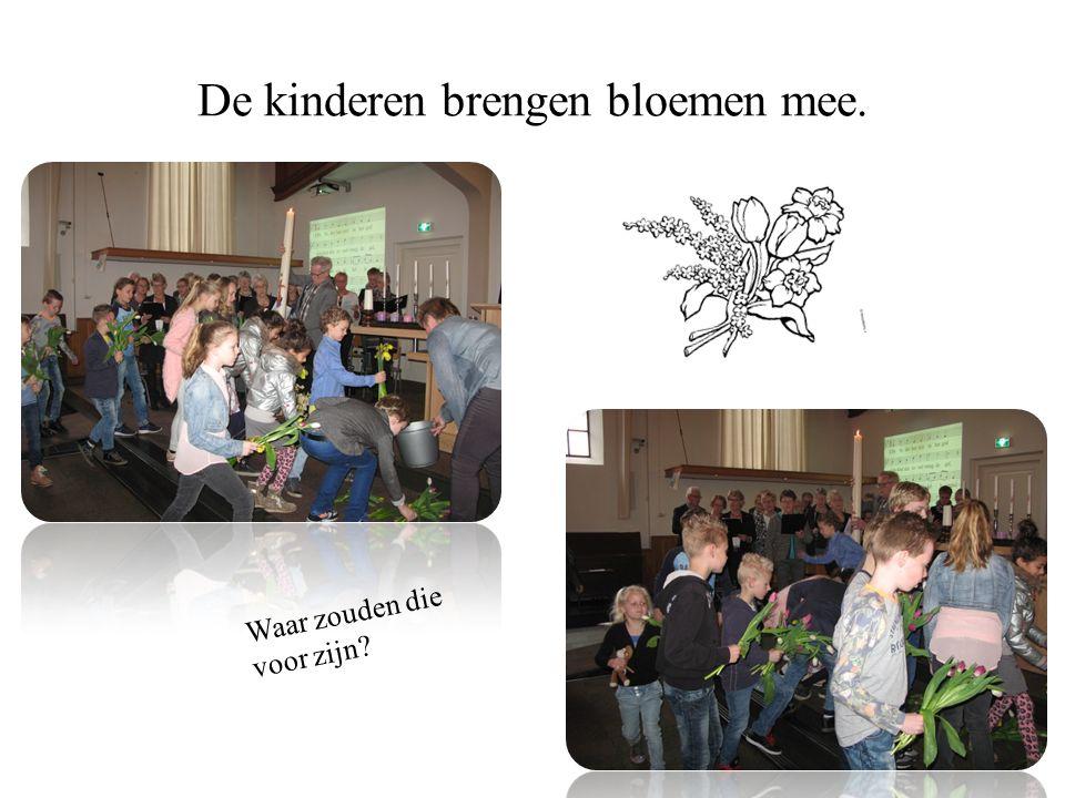 De kinderen brengen bloemen mee. Waar zouden die voor zijn