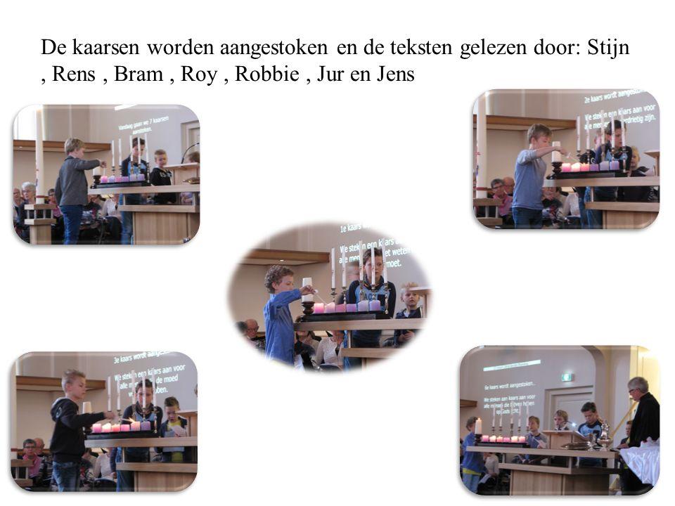 De kaarsen worden aangestoken en de teksten gelezen door: Stijn, Rens, Bram, Roy, Robbie, Jur en Jens