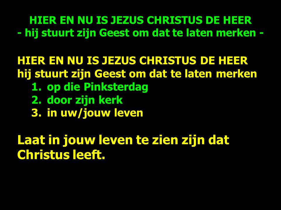HIER EN NU IS JEZUS CHRISTUS DE HEER hij stuurt zijn Geest om dat te laten merken 1.op die Pinksterdag 2.door zijn kerk 3.in uw/jouw leven Laat in jouw leven te zien zijn dat Christus leeft.