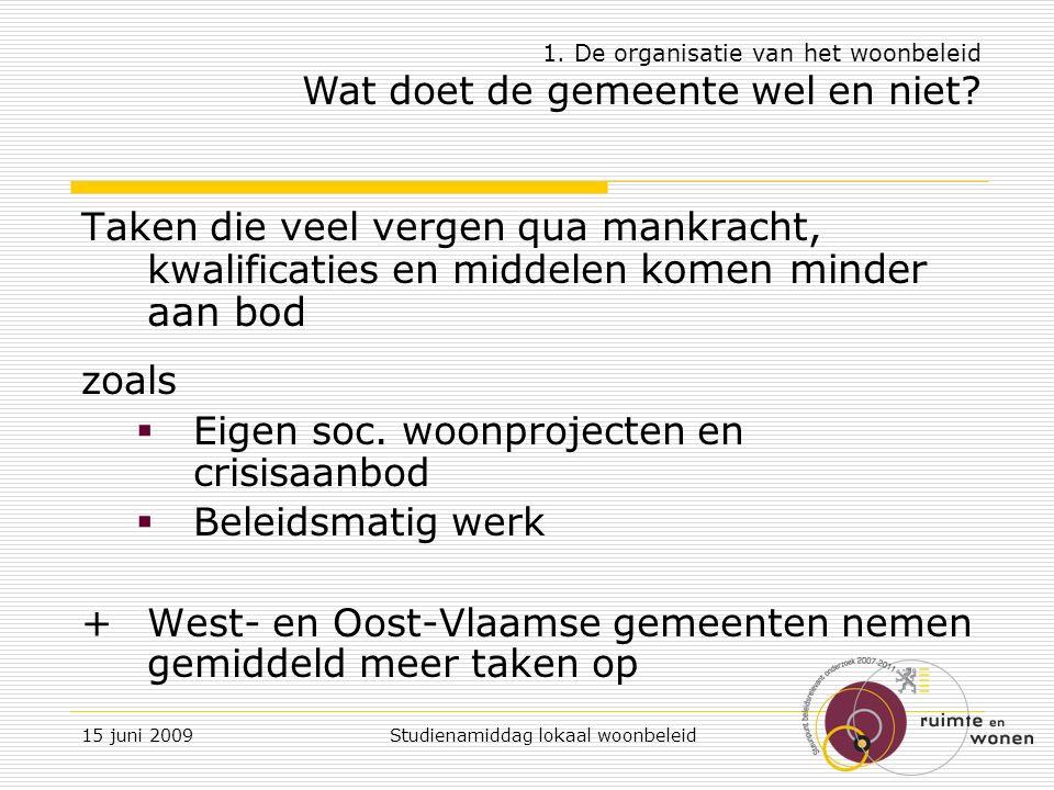 15 juni 2009 Studienamiddag lokaal woonbeleid VWC: invoering woningkwaliteitsregeling Centraal: de veiligheids- gezondheids- en woonkwaliteitsnormen voor élke woning (art.5 VWC) + instrumentarium Lokale overheden: centrale rol in de handhaving ervan + eigen accenten 3.Lokaal woningkwaliteitsbeleid Kwaliteitsnormering