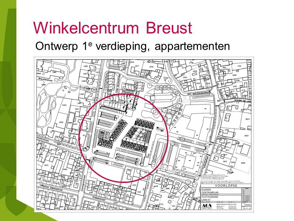 Winkelcentrum Breust Ontwerp 1 e verdieping, appartementen