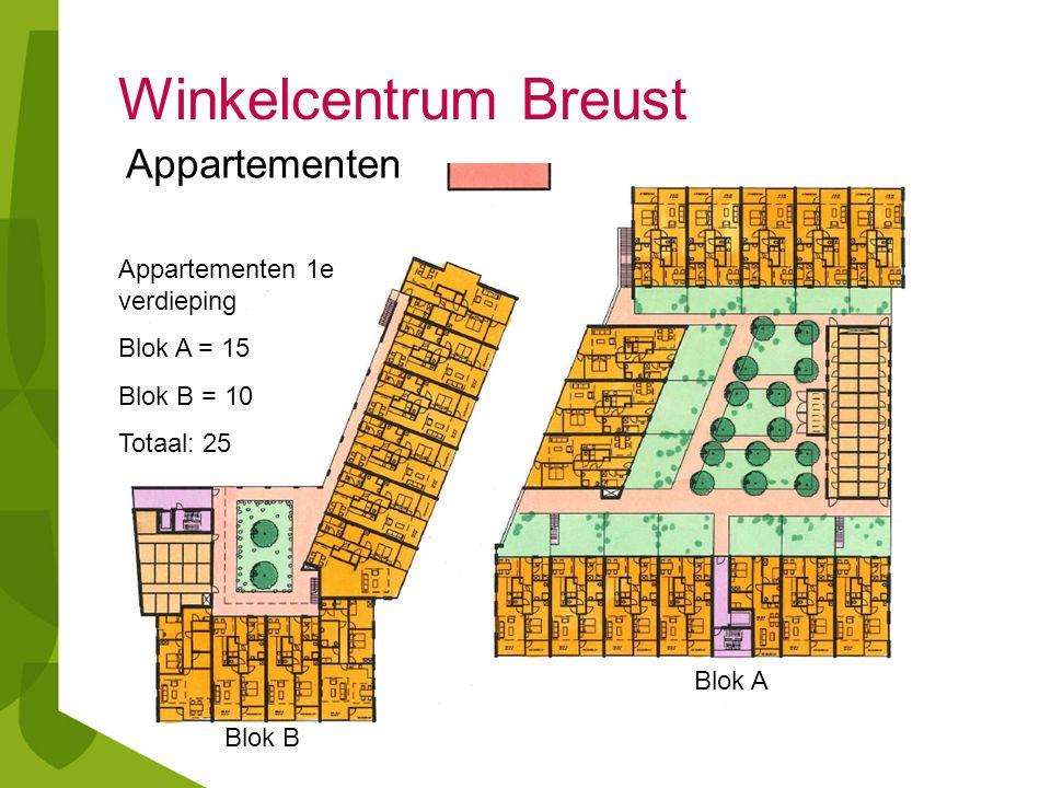 Winkelcentrum Breust Appartementen 1e verdieping Blok A = 15 Blok B = 10 Totaal: 25 Blok A Blok B Appartementen