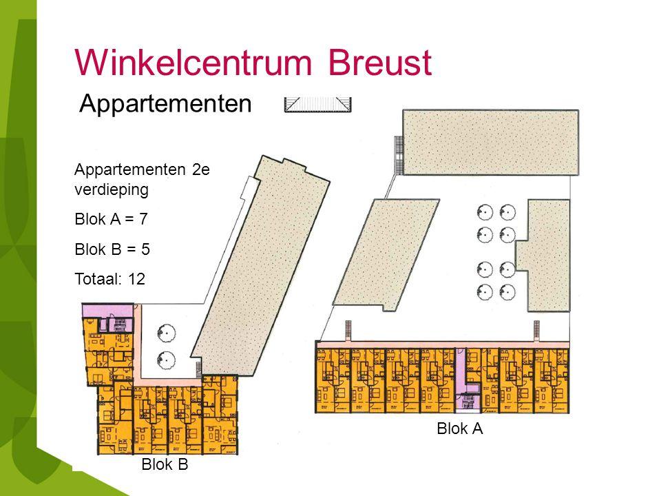 Winkelcentrum Breust Appartementen 2e verdieping Blok A = 7 Blok B = 5 Totaal: 12 Blok A Blok B Appartementen
