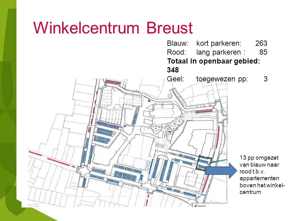 Blauw: kort parkeren: 263 Rood:lang parkeren : 85 Totaal in openbaar gebied: 348 Geel:toegewezen pp: 3 13 pp omgezet van blauw naar rood t.b.v.