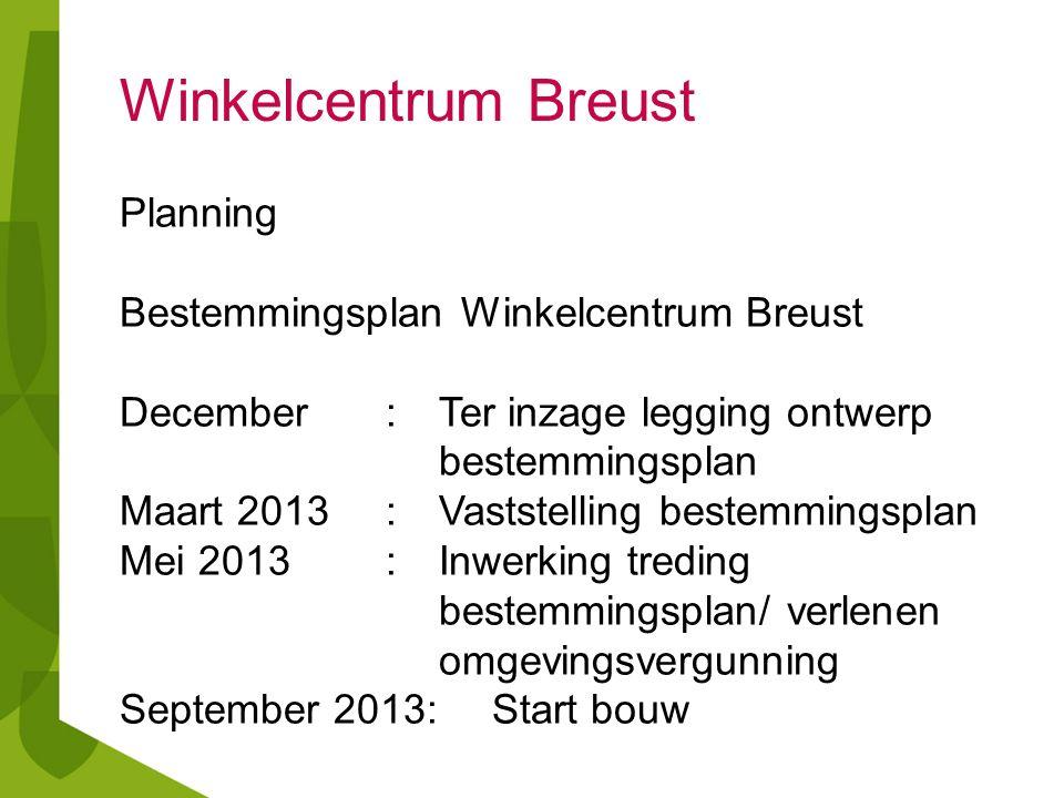 Planning Bestemmingsplan Winkelcentrum Breust December:Ter inzage legging ontwerp bestemmingsplan Maart 2013: Vaststelling bestemmingsplan Mei 2013:In