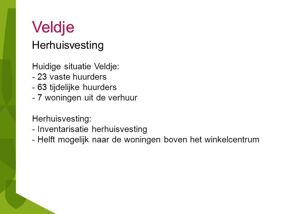 Veldje Herhuisvesting Huidige situatie Veldje: - 23 vaste huurders - 63 tijdelijke huurders - 7 woningen uit de verhuur Herhuisvesting: - Inventarisat