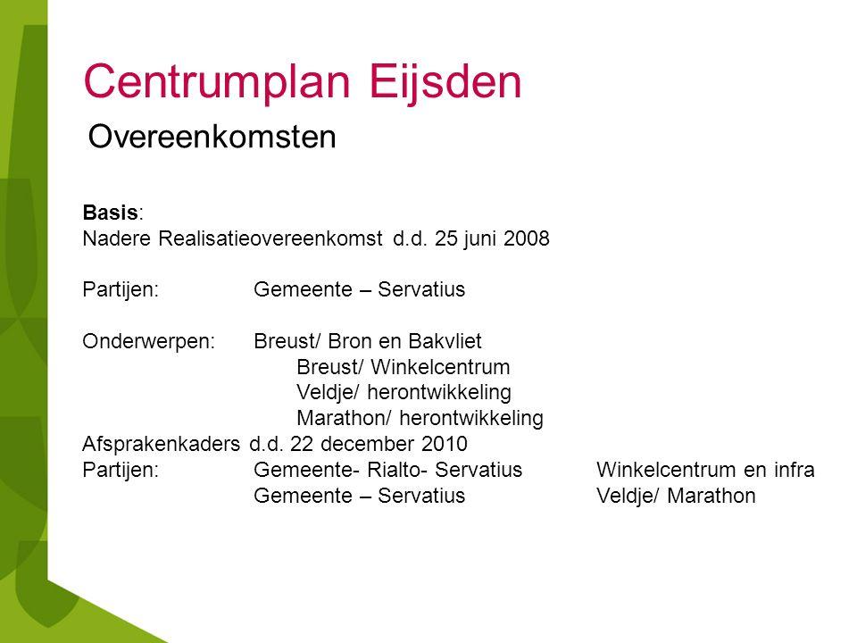 Centrumplan Eijsden Basis: Nadere Realisatieovereenkomst d.d. 25 juni 2008 Partijen:Gemeente – Servatius Onderwerpen: Breust/ Bron en Bakvliet Breust/