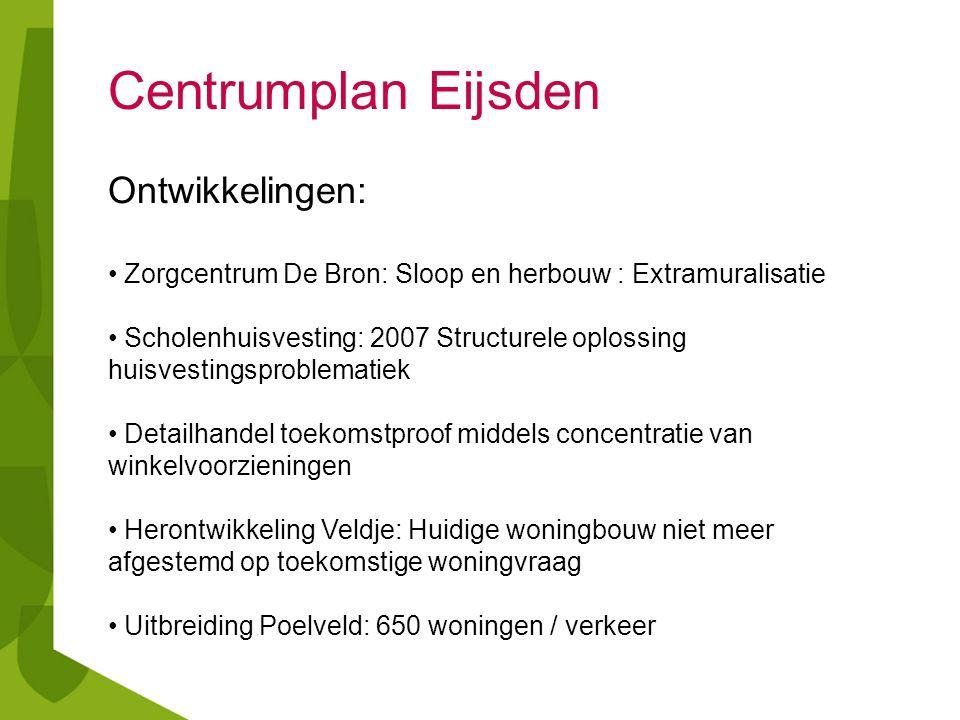 Centrumplan Eijsden Ontwikkelingen: Zorgcentrum De Bron: Sloop en herbouw : Extramuralisatie Scholenhuisvesting: 2007 Structurele oplossing huisvestin