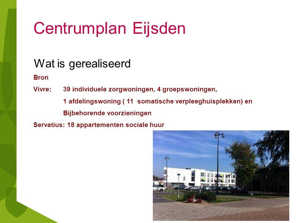 Centrumplan Eijsden Wat is gerealiseerd Bron Vivre: 39 individuele zorgwoningen, 4 groepswoningen, 1 afdelingswoning ( 11 somatische verpleeghuisplekk