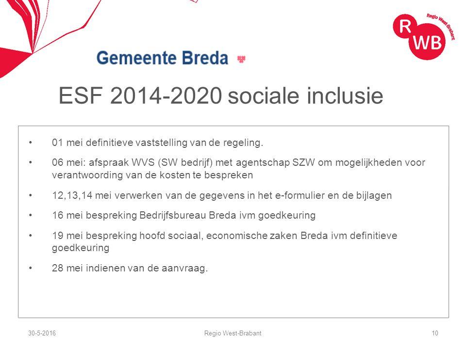 ESF 2014-2020 sociale inclusie 01 mei definitieve vaststelling van de regeling. 06 mei: afspraak WVS (SW bedrijf) met agentschap SZW om mogelijkheden