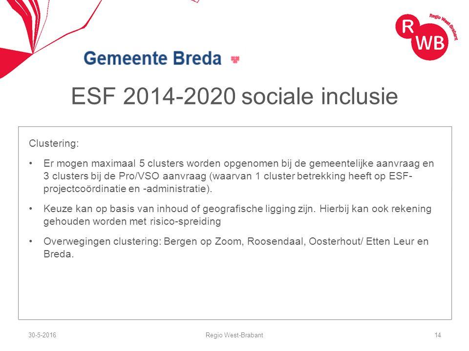 ESF 2014-2020 sociale inclusie Clustering: Er mogen maximaal 5 clusters worden opgenomen bij de gemeentelijke aanvraag en 3 clusters bij de Pro/VSO aanvraag (waarvan 1 cluster betrekking heeft op ESF- projectcoördinatie en -administratie).